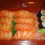 takeaway salmon sushi