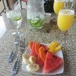 Fruit and fresh mango juice before breakfast was served