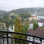 overlooking condos to hills beyond