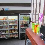 small fridge to buy goodies from and computer there 24hour use