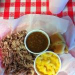 Mmmm! Pork plate with Mac & Cheese and BBQ beans! :)