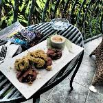 Crispy calamari and roasted watermelon, on our balcony!