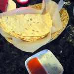 Flat bread with sweet yogurt and mango dipping sauces