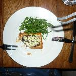vegetarian starter with goat cheese puff pastry