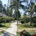 The walkway between the bungalows