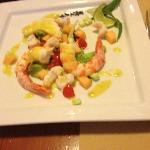 Prawn and scampi with watermelon salad