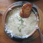 Potato & Leak Soup with Melted Cheese