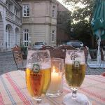 Enjoyed a beer after day sightseeing in hotel courtyard