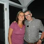 Kevin and Jen, the owners, enjoying a Porch Night on the Main Inn
