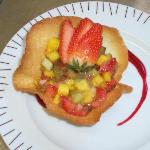 Delicate tulip pastry filled with glased fruit compote