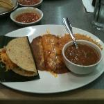 Simple Taco and Cheese Enchilada with Bowl of Charro Beans