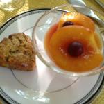 Homemade scone and baked fresh peaches. Heavenly!