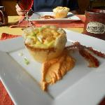 Breakfast selection - egg souffle in puff pastry with red pepper sauce - yumm!