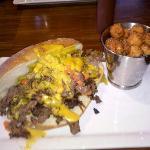 Philly Cheesesteak sandwich w/ sweet potato tots!