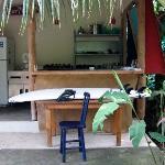 Une cuisine extérieure entourée d'un jardin exotique...