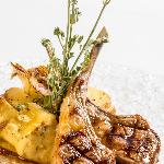 Grilled lamb chops with artichokes & baked potato
