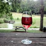 enjoying a glass of wine by the pond