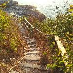 Stairs to sunrise, at hotel Romance