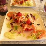 Tomato and prawns salad - starter