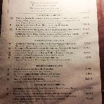Carta del restaurante 1