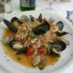 seefood risotto with tomato sauce, magnifique!