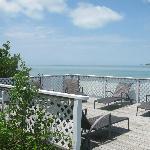 Sunbathing deck by boat dock