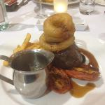 Eye Fillet with Onion Rings