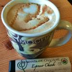 Caramel macchiato and local Denman Island chocolate bar