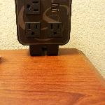 Computer charging location - 3 outlets 2 USB charging.
