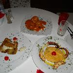zucchini lasagna, grilled octopus, eggplants