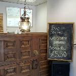 Avesta's reclaimed door counter. Creative and pretty!