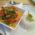 Beautifully presented, gorgeous to taste king prawn thai curry
