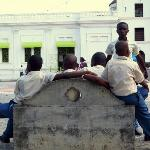 School Children hanging out in the square