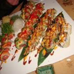 Delicious sushi rolls including Fire Island roll (with tempura)