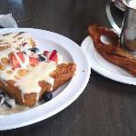 French Toast & syrup w/ a side of bacon from Highland Bakery