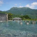 月池有多項水療設施,還可仰望陽明山國家公園