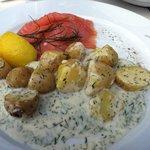 Plato de salmón (abundancia de patatas y salsa)