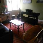 Living area with musical instruments.