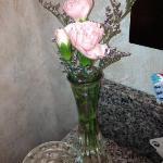 fresh flowers in the bathroom