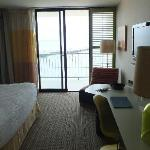 Main bedroom - onto balcony. Good facilities in room.