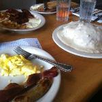 Half order B&G, Eggs, Bacon and Sausage (~$7)