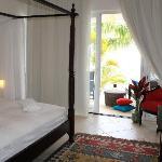 Oceanfront master bedroom with flat screen TV
