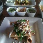 Taquitos, the Salsa trio and an assortment of tacos