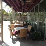 Comfortable outside areas to relax and work