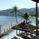 piscina e mare antistante l'hotel