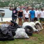 Volunteers clean up at Hassel Island, one of the Trust's core projects.