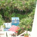 View of pool area and garden walkway - taken from our private balcony