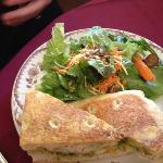 chicken panini with salad and house dressing
