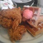 Chicken and waffles with strawberry butter