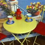 Nice little faux Mediterranean Cafe - nice, whimsical touch